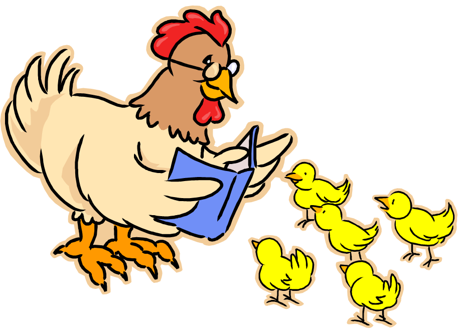 Hen reading book to chicks - Storytime Logo
